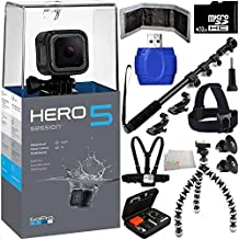 GoPro HERO5 Session 32GB Bundle 17PC Accessory Kit - Includes 32GB microSD Card + High Speed Memory Card Reader + Heavy Duty Monopod Selfie Stick + Flexible Gripster Tripod + Head Mount + Chest Strap + MORE
