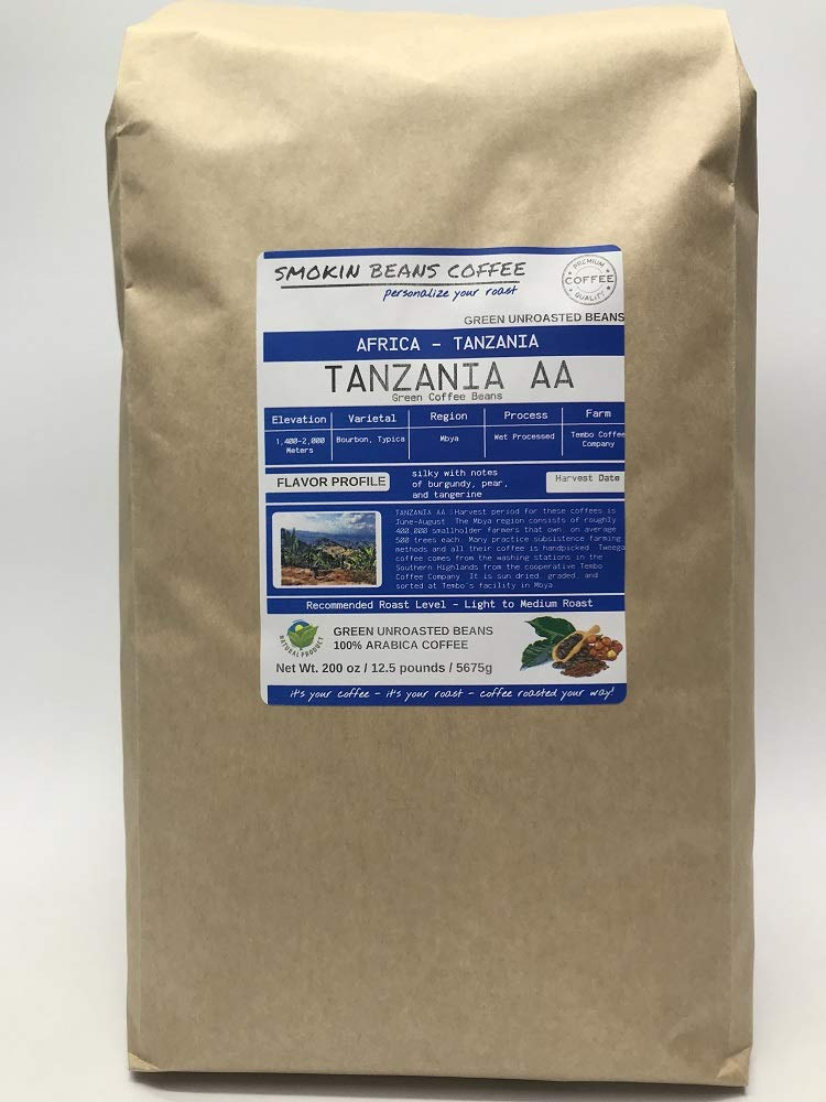 12.5 Pounds - Southern Africa - Tanzania AA - Unroasted Arabica Green Coffee Beans - Grown Mbya Region - Altitude 1400-2000M - Varietal Typica - Drying/Milling Process Wet Processed by Smokin Beans