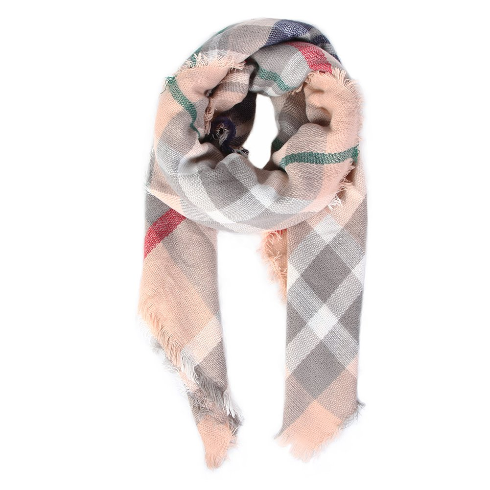 Natural Feelings Soft Plaid Tartan Fashion Blanket Pashmina Scarf Shawl Wraps Zhejiang Chengjun Lace Co. Ltd. CJXHY0031-01