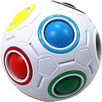 Minitoys Fidget Ball,Spherical Magic Cube Rainbow Ball Cube Puzzle Brain Teasers Fidget Educational Toy (White)