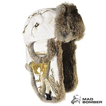 2c62b859a9bf9 Realtree Snow Trapper Bomber Fleece Winter White Camo Hunting Hat Adult