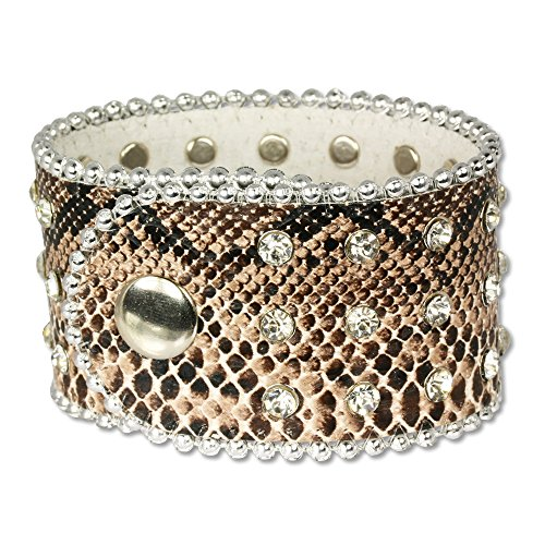 (SilberDream leather bracelet brown snake skin design, with Zirkonia, women, leather bracelet genuine leather LAP229B)