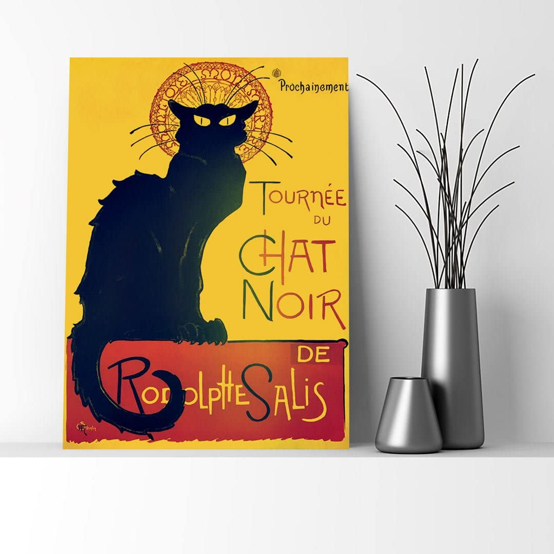 Pub Restaurant Black Cat Chat Noir Bar Vintage Poster Repro FREE SHIP in USA