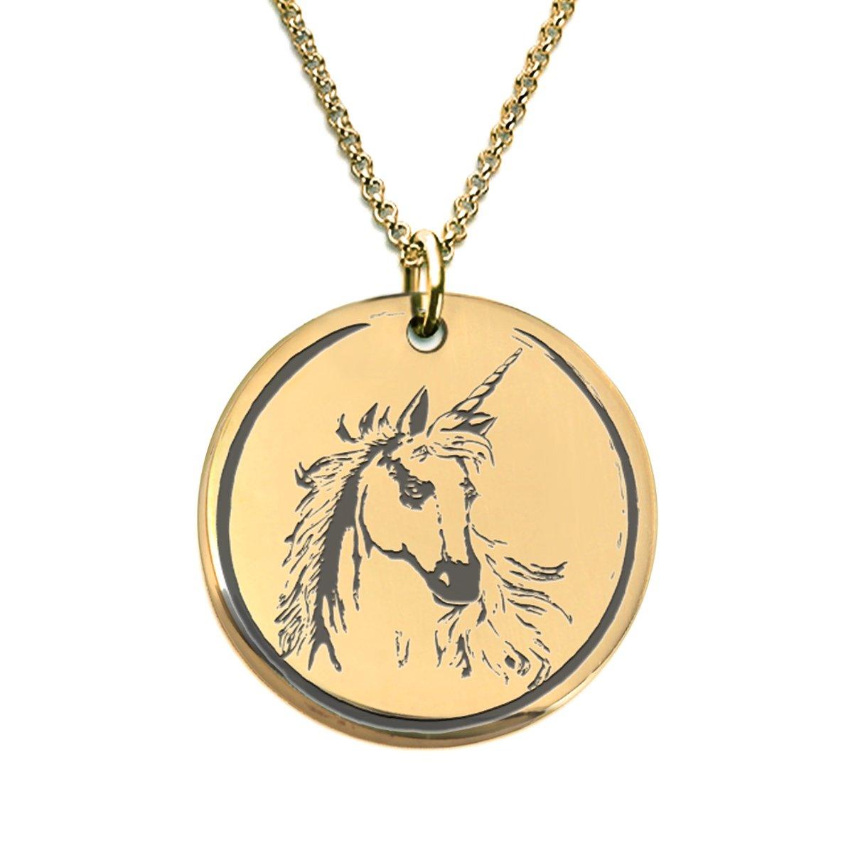 Fierce Unicorn Necklace 18k Gold Plated Laser Engraved Pendant Unicornio