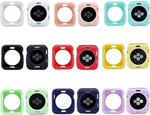 Smarmate 9-Pack Solid Color TPU Protective Bumper Case Kit Compatible with 38 mm Apple Watch Series 3/2/1