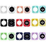 Smarmate 9-Pack Solid Color TPU Protective Bumper Case Kit Compatible with 42 mm Apple Watch Series 3/2/1