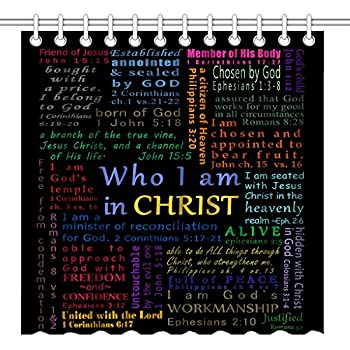 Wknoon 72 x 72 Inch Shower Curtain Inspirational Quote, Christian Bible Verse Scripture Quotes Colorful Design Art, Polyester Fabric Decorative Bathroom Bath Curtains