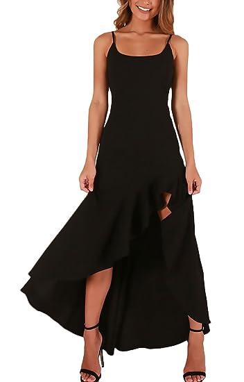 Mujer Vestidos Largos Ceremonia Elegante Verano Tirantes del Oscilación con Volantes Vestido Lindo Chic De Noche Slim Fit Moda Color Sólido Tirantes Espalda ...