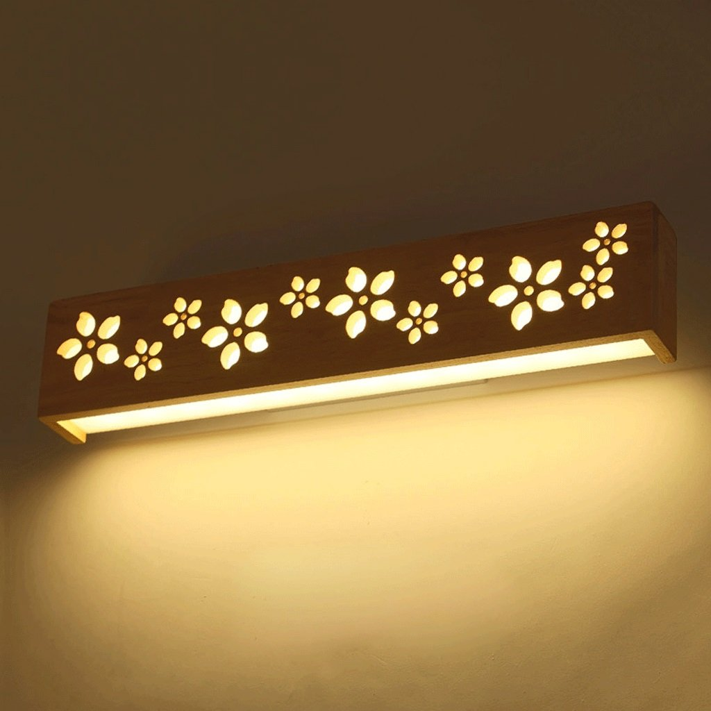 A Spiegelleuchten Kreative einfachen Nachttischlampe Balkon Flur Wandleuchten warmes Holz Schlafzimmerspiegel Frontlampen (MUSTER   A)