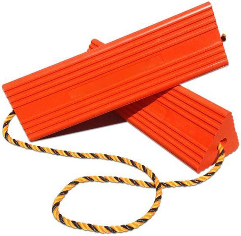 BUNKERWALL Industrial Rubber Wheel Chock Blocks with Rope - High Visibility Orange - 9.6'' Wide x 5'' High BW3433