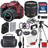 Nikon D5500 DX-format Digital SLR (Red) w/AF-P DX NIKKOR 18-55mm f/3.5-5.6G VR Lens, Professional Accessory Bundle (17 Items)