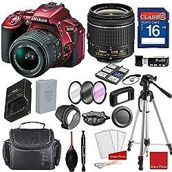 Nikon D5500 Dx-format Digital Slr (Red) Waf-p Dx Nikkor 18-55mm F3.5-5.6g Vr Lens, Professional Accessory Bundle (17 Items)