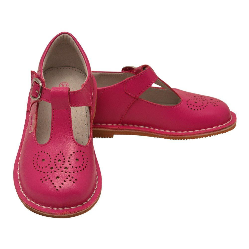 L'Amour Little Girls Fuchsia T-Strap Perforated Leather Shoes 9 Toddler