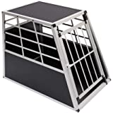 "WarmieHomy Heavy Duty Dog Carrier Alumium Dog Cat Crate Lockable Car Travel Transport Box Pet Kennel, 21.26"" L x 27.17…"
