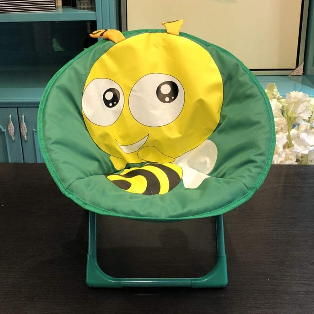 Kaliya Children Foldable Chair Animal-Pattern Moon Seat Soft Padded Saucer Beach Chairs for Toddlers Kids Crown