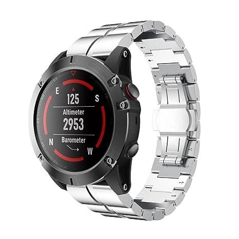 Para Garmin Fenix 3/HR GPS reloj elegante correa de pulsera de acero inoxidable banda de ...