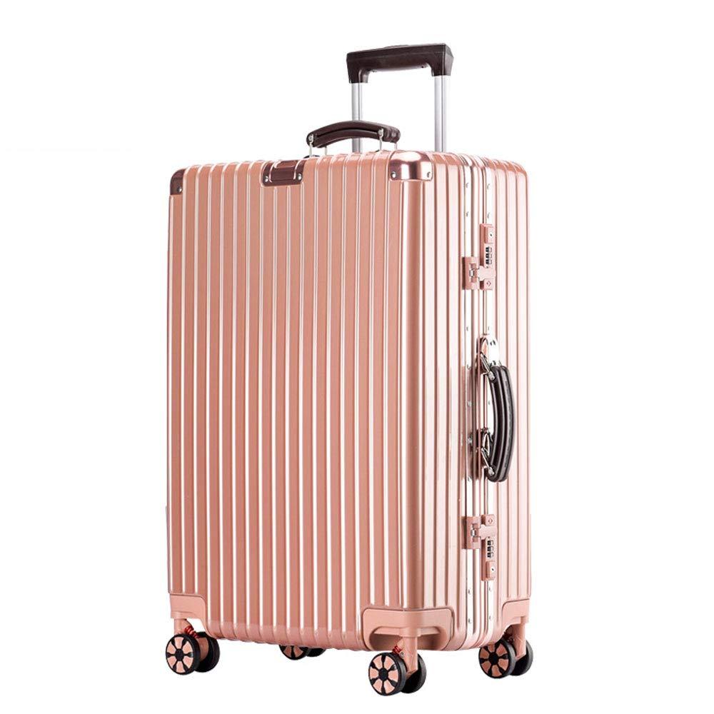 YD スーツケース トロリーケース - ABS/PC、内蔵パスワードロック、快適なハンドル、スタイリッシュで小さくて鮮やかなアルミフレームキャスター学生大容量スーツケース - 5色、2サイズ利用可能 /& (色 : ローズゴールド, サイズ さいず : 41.5*26*60.5cm) B07MX9GDGH ローズゴールド 41.5*26*60.5cm