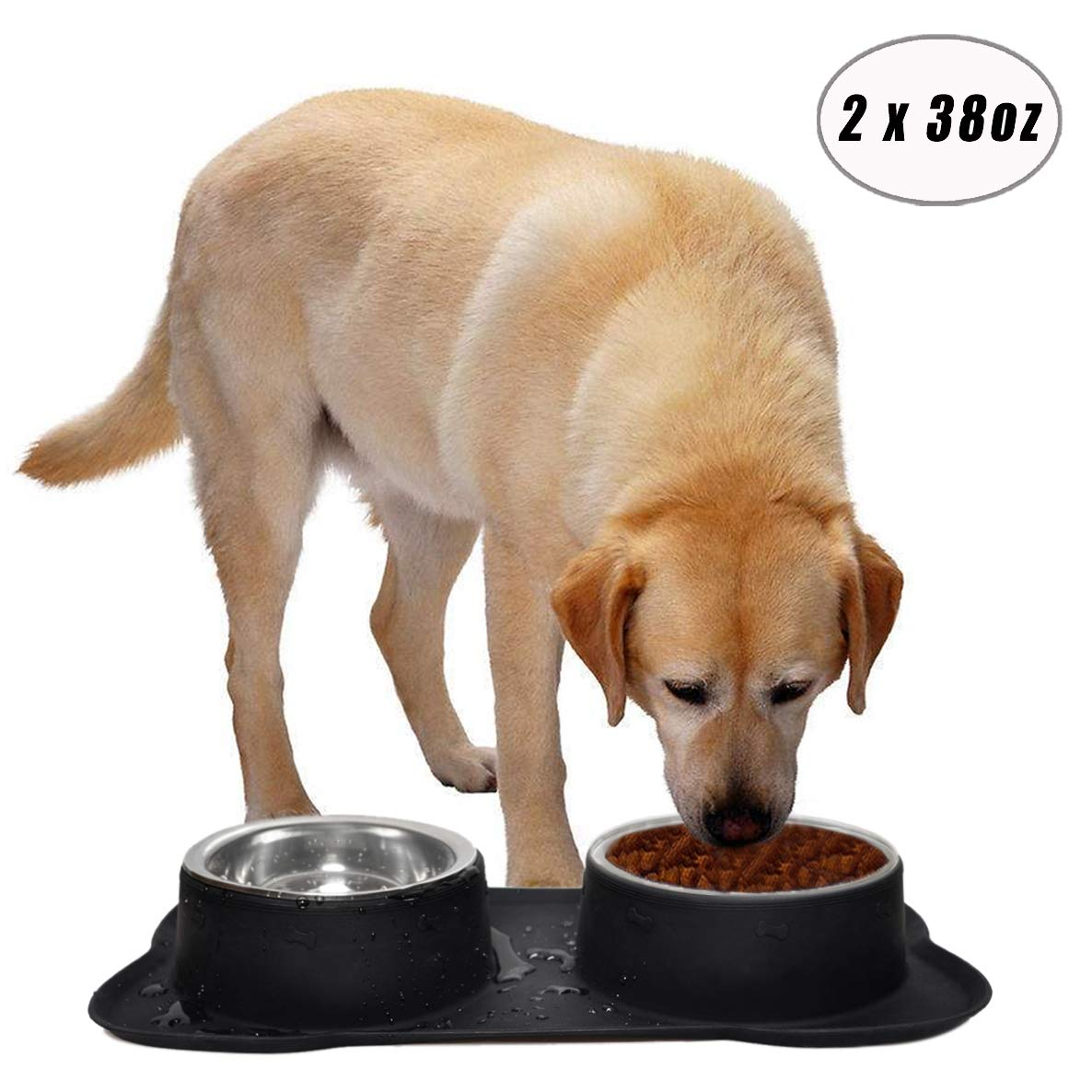 Easeurlife Stainless Steel Dog Bowl Set 2 x 38oz No Spill/Non-Skid Silicone Mat Double Pet Bowls Set Medium Dogs, Each Bowl about 1100ml 2018 Newest Version, Black