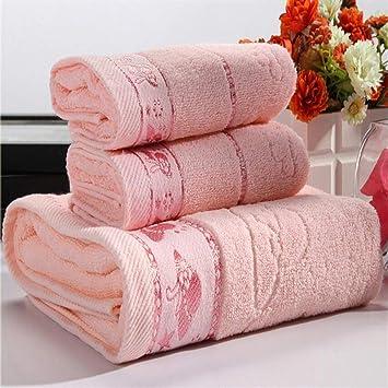 Toalla de baño con 3 toallas de baño de algodón estampadas absorbentes y toalla de ducha rosa: Amazon.es: Hogar