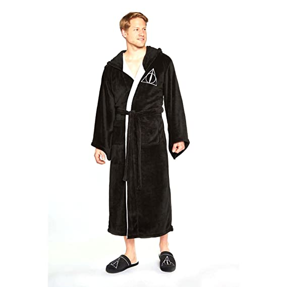 Harry Potter Gryffindor Mens Bath Robe Dressing Night Gown Hood Slippers Mules