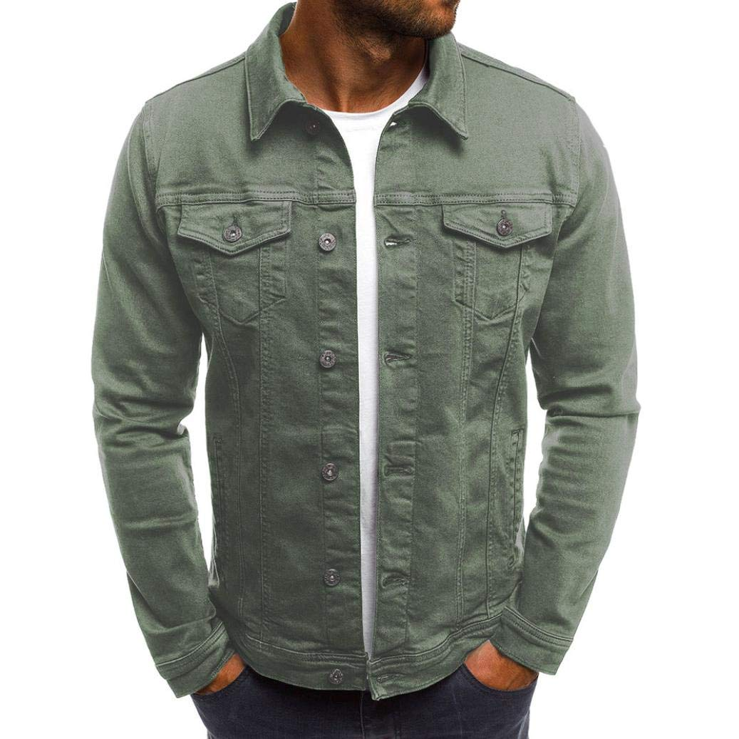 HTHJSCO Men's Work Shirt, Men's Denim Western Snap up Vintage Denim Jacket Tops Blouse Coat (Army Green, M)