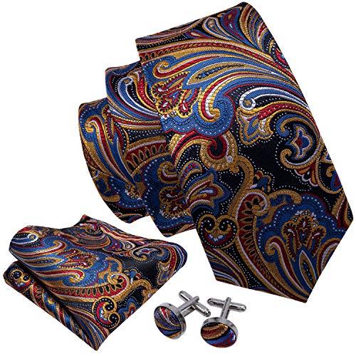 - Barry.Wang Wedding Party Tie Set Paisley Handkerchief Cufflinks Set Woven,Orange.,One Size