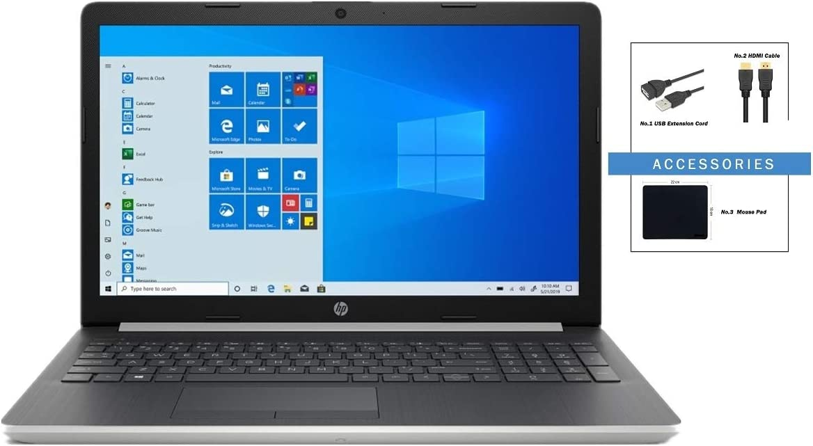 HP 15.6 inch HD LCD Touchscreen Laptop w/ Accessories | Intel Quad Core i5-8265U | 8GB DDR4 | 1TB HDD | HDMI | DVD | Windows 10 | Silver