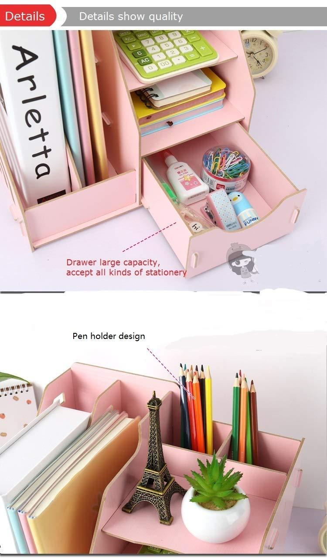 LISAY Desk Organizer,Magazine Holder,Desk Organizers and Accessories,Desk Decor,Creative DIY Office Supplies Desktop Soild Organizer Bookshelf,A4 Drawer Folder Shelf File Tray Desk Organizer