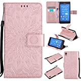 For Sony Xperia Z3 Case [Rose Gold],Cozy Hut [Wallet Case] Magnetic Flip Book Style Cover Case ,High Quality Classic New design Sunflower Pattern Design Premium PU Leather Folding Wallet Case With [Lanyard Strap] and [Credit Card Slots] Stand Function Folio Protective Holder Perfect Fit For Sony Xperia Z3 5,2 inch - Rose gold