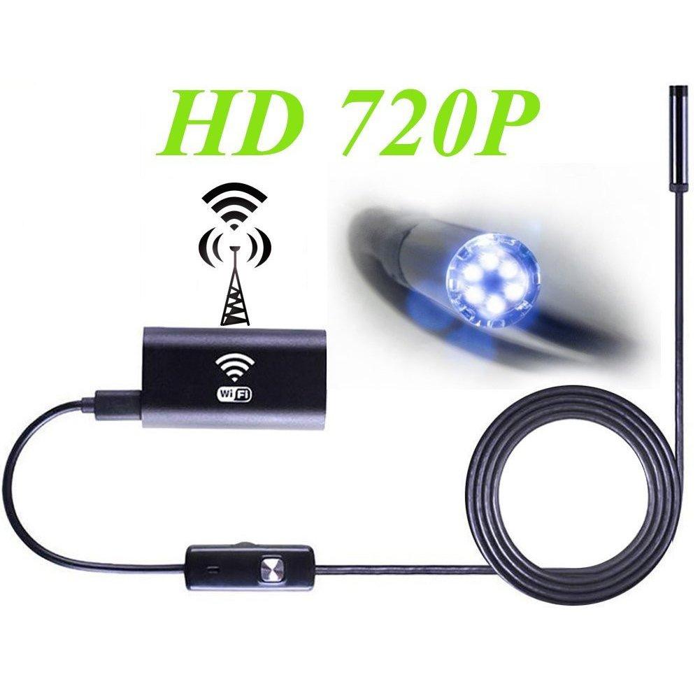 XiYunHan WIFI Endoscope, Wireless Camera 2 Megapixel 720P HD, Waterproof IP67 Adjustable LED 850mAh iOS Android Smartphone PC