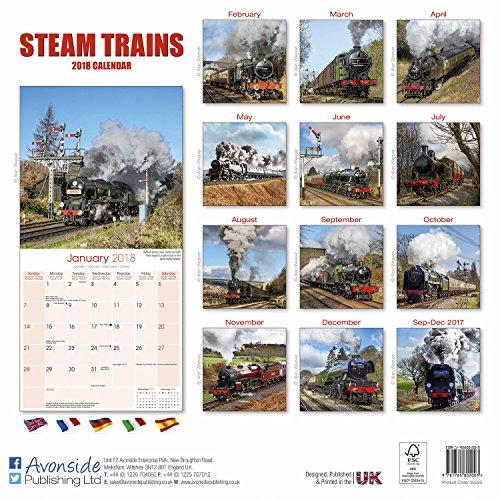 Steam Train Calendar - Calendars 2017 - 2018 Wall Calendars - Steam Trains 16 Month Wall Calendar by Avonside