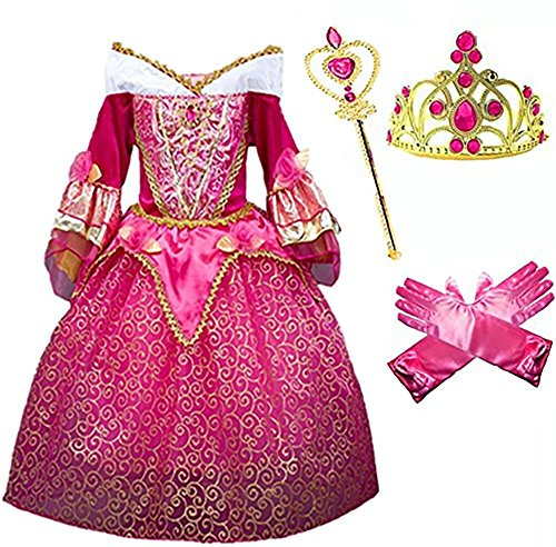[Princess Aurora Deluxe Pink Party Dress Costume (7-8)] (Fairy Dress For Kids)