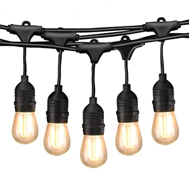 Mpow 49ft Outdoor String Lights, Waterproof Dimmable LED String Light, 15 Hanging Sockets, 1.5W Vintage Bulb (1 Spare), Connectable Edison String Lights Create Cafe Ambience for Patio Backyard - Black