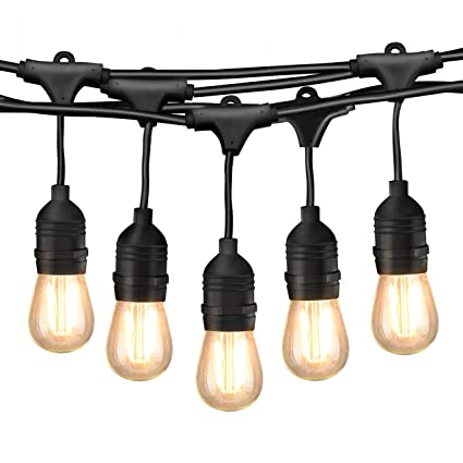 Mpow led outdoor string lights 49ft commercial grade lights 16 edison vintage dimmable bulbs