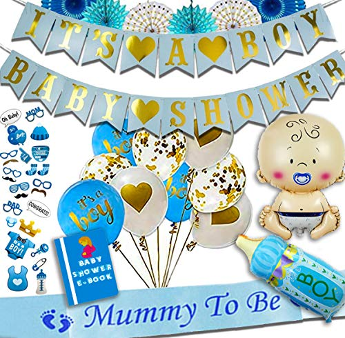 Baby Shower Decorations for BOY (50+ Premium Piece Set) | EASY To Assemble | Photo Booth Props | Stunning Blue, Gold & White Pom Poms | Swirls | Mommy To Be Sash | High Quality & Free E-Book