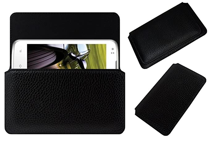 Acm Horizontal Leather Case Compatible with Intex Aqua Speed Mobile Cover Carry Pouch Holder Black Mobile Accessories