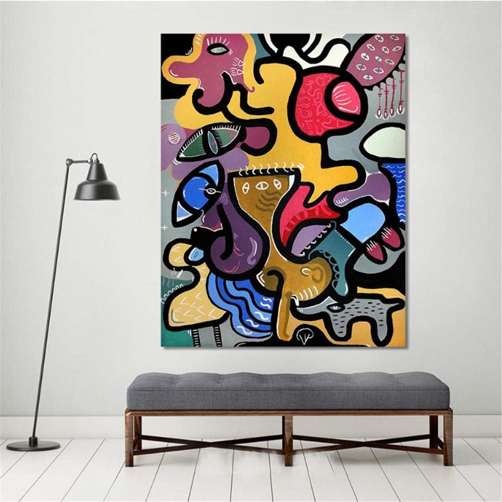 arteWOODS Cuadros de Pared para Sala de Estar Arte de la Lona Pintura Animal Abstracta Picassos Gato Mujer Decoración para el hogar Pintura 50x70cm Sin Marco