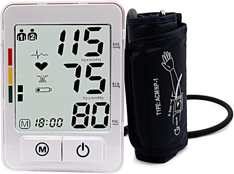 JIACOM Upper Arm Blood Pressure Monitor IHB Indicator Digital Machine,Alarm Remind Function 120 Sets Memory for 2 Users,FDA and CE ISO13485 Approved