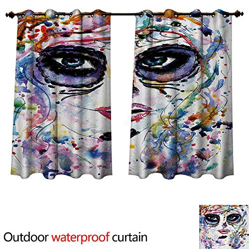 WilliamsDecor Sugar Skull 0utdoor Curtains for Patio Waterproof Halloween Girl with Sugar Skull Makeup Watercolor Painting Style Creepy Look W120 x L72(305cm x -
