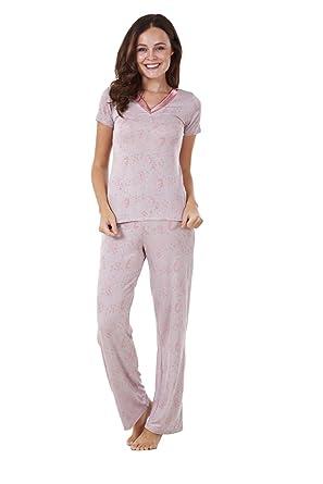 ca7be70ae19 BHS Ladies Short Sleeve Floral Print PJ Set Stretch Nightwear Womens Pyjamas   Amazon.co.uk  Clothing