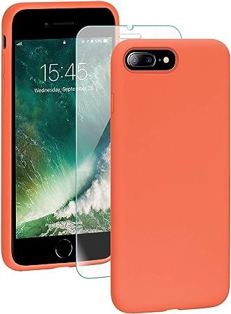 SmartDevil Cover iPhone 7 Plus,[Libero Pellicola Vetro Temperato] Custodia Antiurto Gomma Gel Silicio Liquido con Fodera Tessile Microfibra Morbida ...