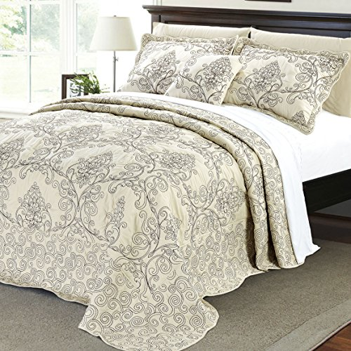 Home Soft Things Serenta Damask 4 Piece Bedspread Set, Queen, Beige - Gold Antique Bed