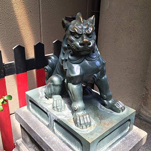Home Comforts Peel-n-Stick Poster of Lion Kyoto Statue Guardian Dogs Shrine Asian Vivid Imagery Poster 24 x 16 Adhesive Sticker Poster Print