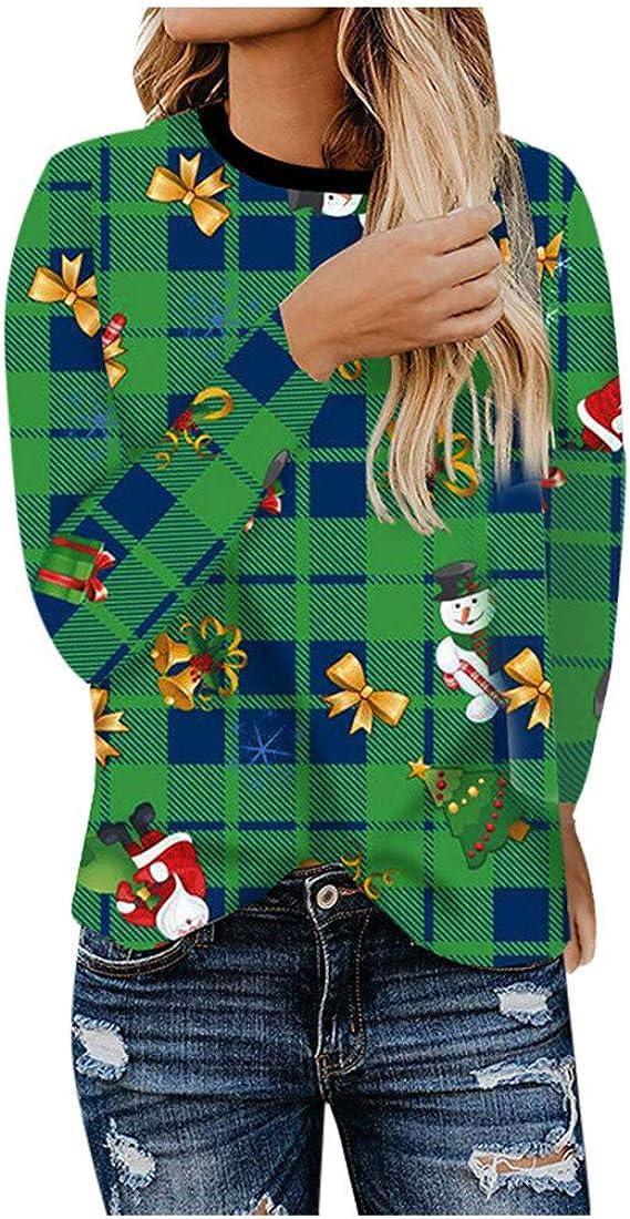 Navidad Mujer Camisetas a Cuadros de Manga Larga Mujer Estampadas Sudaderas Sin Capucha Jersey Cuello Redondo Blusas para Mujer: Amazon.es: Ropa y accesorios