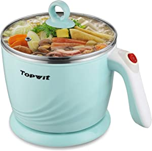 Topwit Electric Hot Pot Mini, Electric Cooker, Noodles Cooker, Electric Kettle with Multi-Function for Steam, Egg, Soup and Stew with Over-Heating & Boil Dry Protection, Dual Power, 1.2L, Green