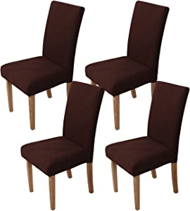 Ogrmar 4PCS Stretch Removable Washable Dining Room Chair Protector Slipcovers/Home Decor Dining Room Seat Cover(Chololate)