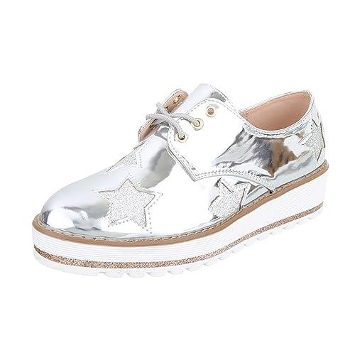 Ital-Design - Zapatos Planos con Cordones Mujer , color plateado, talla 38