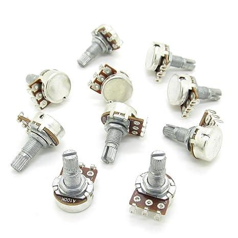 10pcs Guitarra eléctrica Bass A100 K Audio Control de potenciómetros Ollas eje L18 mm
