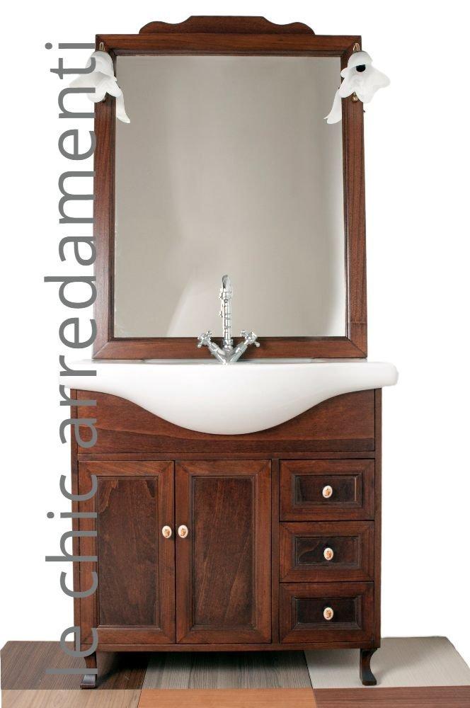 mobile arredo bagno cm105 arte povera con lavabo in ceramica e ... - Mobile Bagno Con Lavabo E Specchio