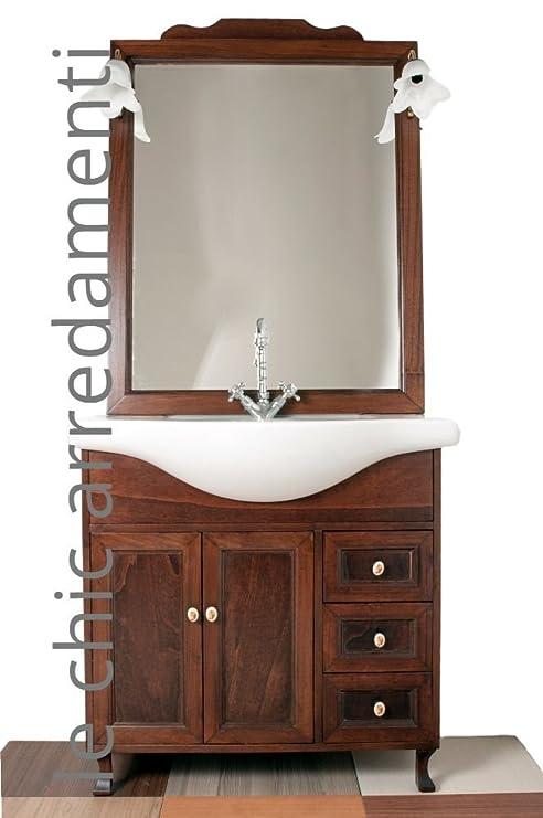 arredo bagno arte povera 85 cm con lavabo in ceramica: Amazon.it ...